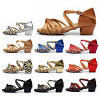 Ballroom Salsa tango heeled latin dance shoes children girls women size 24 41