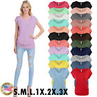 Womens Short Sleeve Solid Basic Tunic Top Tee with Side Shirring USA SML