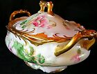 RARE STUNNING LIMOGES COVERED DISH HAND PAINTED FLORAL & GOLD OLD ABBEY STUDIOS