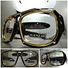 Mens CLASSIC VINTAGE RETRO Style Clear Lens EYE GLASSES Thick Black