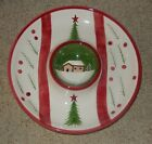 THE CELLER LOG CABIN CHRISTMAS ROUND CHIP & DIP PLATTER 2002