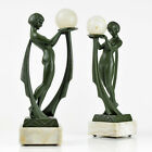 PAIR of 1920s French ART DECO Ball Dancer Nude SCULPTURE by G. LIMOUSIN, RARE !