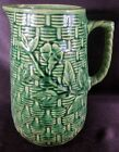 Large Vintage Brush McCoy Pottery Stoneware Basketweave Morning Glory Pitcher