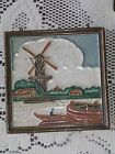 Antique Arts and Crafts ~~ Delft Wall Tile~~ Windmill and Boats! NICE COLORS!