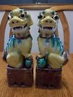 Antique Pair Porcelain Chinese Foo Dog Fu Lion Statue Figures Asian Figurines