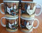 Set of 4 David Carter Brown Sakura ON THE FARM Coffee Mugs Chicken Rooster