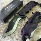 MTECH Ballistic BOWIE Black & Purple SKULL CAMO Spring Assisted Opening Knife!!!