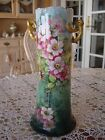 ANTIQUE LEONARD VIENNA AUSTRIA HAND PAINTED SIGNED VASE, WILD ROSE