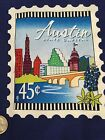 Fabric Texas Austin Forever Stamp Panel on Blue Cotton 5 1/4