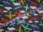 Airplane Flannel fabric plane cotton quilt quilting sewing material by the yard