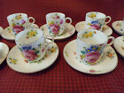 Antique Royal Crown Chelsea China Hand Painted Rose English Cups