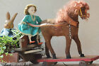 RARE ANTIQUE GERMAN HORSE PULL TOY 1920s w CART & BAGS AND WINE BARREL