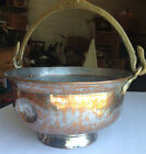 Antique Hand Made Hammered Copper Bowl Heavy Brass Handle Great Condition Vtg