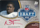2011 Topps Rising Rookies Nick Fairley Rookie Auto 2 5 Red Ink NFL Shield Patch
