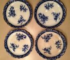 Lot of 4 Blue and White Floral Saucers England