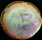 RARE MARK LIMOGES DECORATIVE CABINET PLATE HAND PAINTED PINK ROSES DAISIES GOLD