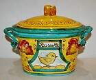 Italian Biscotti Cookie Jar Lid Canister Chick Chicken Hand Painted Italy NEW