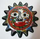 Hand Painted Pottery Hanging Sun Wall Decor Glazed Mexico Inddor Outdoor