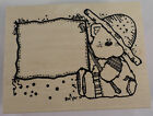 Hooks Lines And Inkers Bumpkin Frame Sign Country Bear Wooden Rubber Stamp