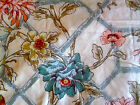 6 Yards Original Screen Print Bloomcraft  Trellis w/ Blooms & Birds   W 54