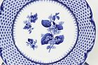 SET 7 ANTIQUE ROYAL CAULDON ENGLAND CHINA RUSKIN BREAD PLATES BLUE FLORAL BASKET