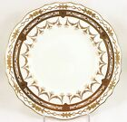FULL SET 12 ROYAL CAULDON CHINA L9564 DINNER PLATES RAISED GOLD ENCRUSTED WHITE