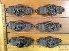 set 6 DOG HANDLES BIN PULL 3-7/8 rustic cast iron Drawer Cabinet antique style