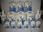 Lot 28 Antique Blue & White Windmill & Boat Czechoslovakia Canister Set Yvonne
