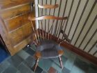 Antique Vintage Wood  Brown Windsor Chair  Wicker Seat High Back