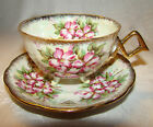 Vintage JAPAN 3 Footed Cup & Saucer Iridescent with Pink White Flowers & Lg Cup