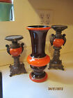 WESTERN GERMANY VASE DAIMLER ?  VIBRANT ORANGE AND BROWN   COLLECTIBLE NUMBERED