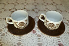 WELLESLEY by Wood &Sons  2 Tea Cups   Made in England  Brown Transferware