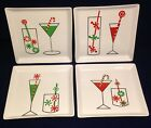 Lot of 4 Crate & Barrel Square Christmas Martini Snack Appetizer Plate Set Cheer