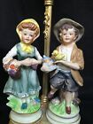 antique porcelain German lamp with 2 figurines.