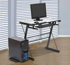 Computer Laptop Desk Table PC Stand Glass Top w Keyboard Tray Home Workstation