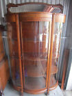 Antique Tiger Oak Bow Front China, Display, Curio Cabinet Mirror Top