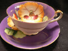 PRINCESS CHINA TEA CUP AND SAUCER PURPLE BACKGROUND WITH YELLOW FLOWER HANDPAINT