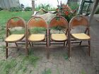 4 VINTAGE ANTIQUE WOODEN WOOD ROUND BACK PADDED SEAT FOLDING CHAIRS MANY PHOTOS
