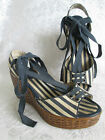 MONTEGO BAY CLUB Size 7 Striped Ankle Wrap Wedge SANDAL Lace Up Canvas Blue