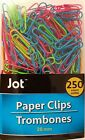 Regular Paper Clips Neon Multi Color Metal Vinyl Coated 1 inch 28 mm 250 pack