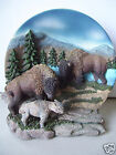 American Bison Moose Bull Cow And Calf Family Very Heavy Material 8