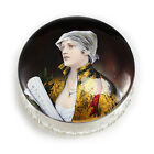 French Enamel Portrait on Bronze Crystal Powder Jar, c1900 Woman w/ Sheet Music