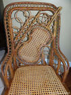 Antique Wicker Rattan Bamboo Victorian Rocking Cane Chair with Violin Pattern