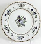8 ANTIQUE BOOTH'S ENGLAND CHINA PATTERN A8086 SCALLOPED RIM SOUP BOWLS GOLD BLUE