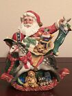 Fitz & Floyd  Old Fashioned Christmas Teapot , Santa and Rocking Horse