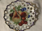 Antique Hand Painted Reticulated Porcelain Multi-Colored Fruit Plate Lovely