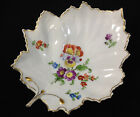 Hochst Porcelain China Handpainted Floral Leaf Dish Pansy Gold Germany Flowers