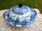 ANTIQUE ENOCH WOOD & SONS FLOW BLUE TRANSFERWARE FLORAL COVERED VEGETABLE BOWL