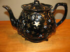 Antique Victorian Coffee/Tea Pot English Black Lusterware, Ornated by Hand