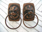 Set of 2 Vintage Metal Lion Door Handles Pull Furniture Knob Brass Lion Head